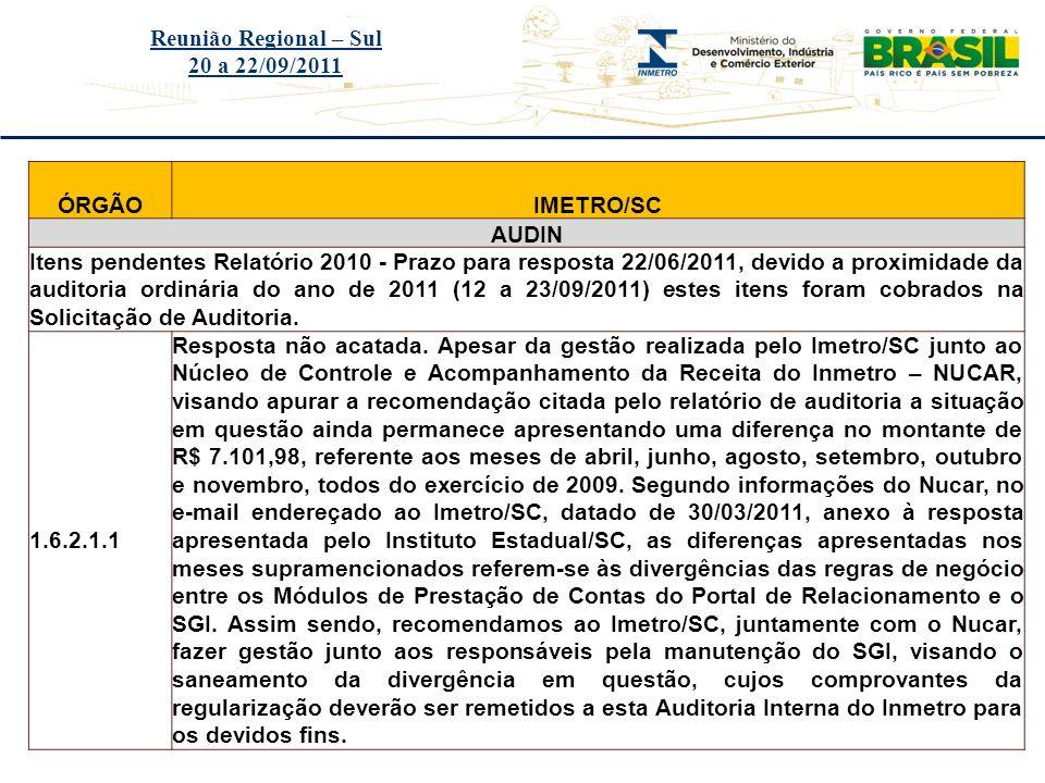 Reunião Regional – Sul 20 a 22/09/2011. ÓRGÃO. IMETRO/SC. AUDIN.