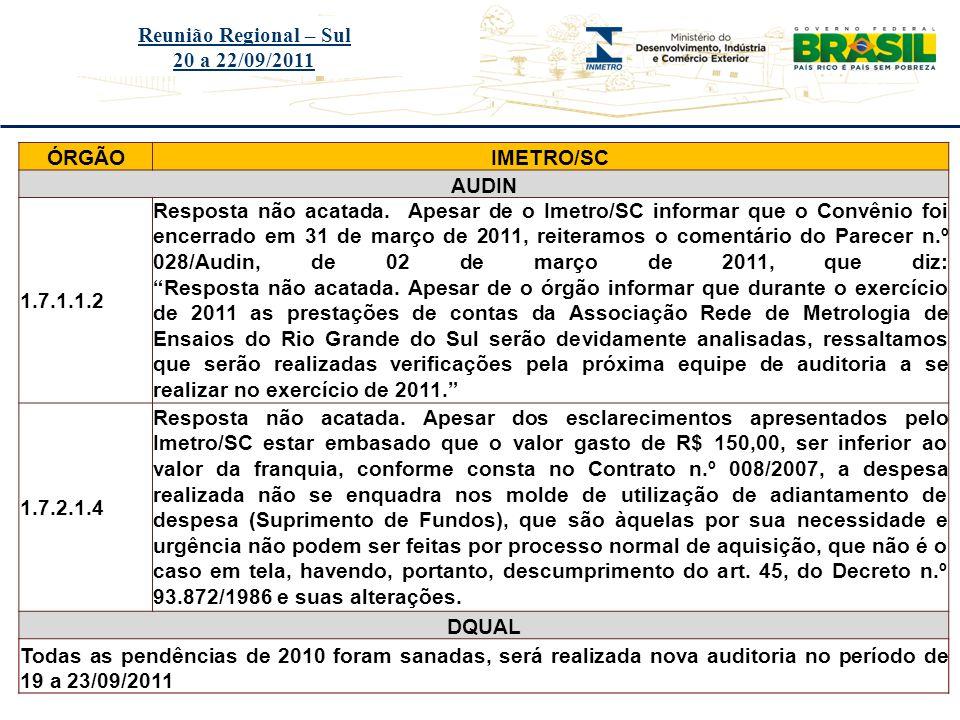 Reunião Regional – Sul 20 a 22/09/2011. ÓRGÃO. IMETRO/SC. AUDIN. 1.7.1.1.2.