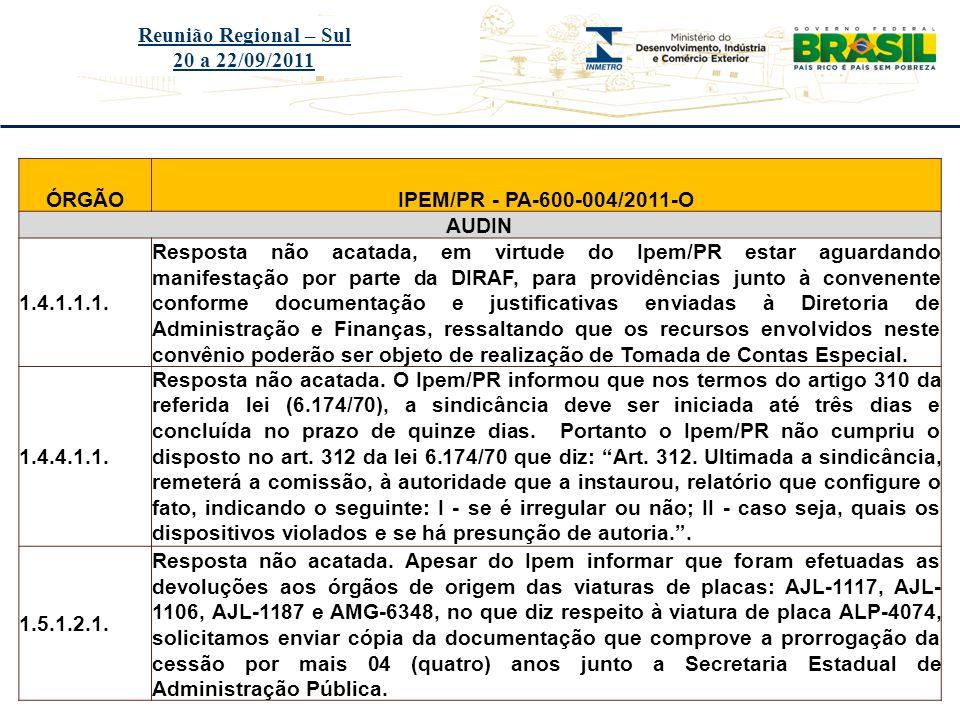 Reunião Regional – Sul 20 a 22/09/2011. ÓRGÃO. IPEM/PR - PA-600-004/2011-O. AUDIN. 1.4.1.1.1.