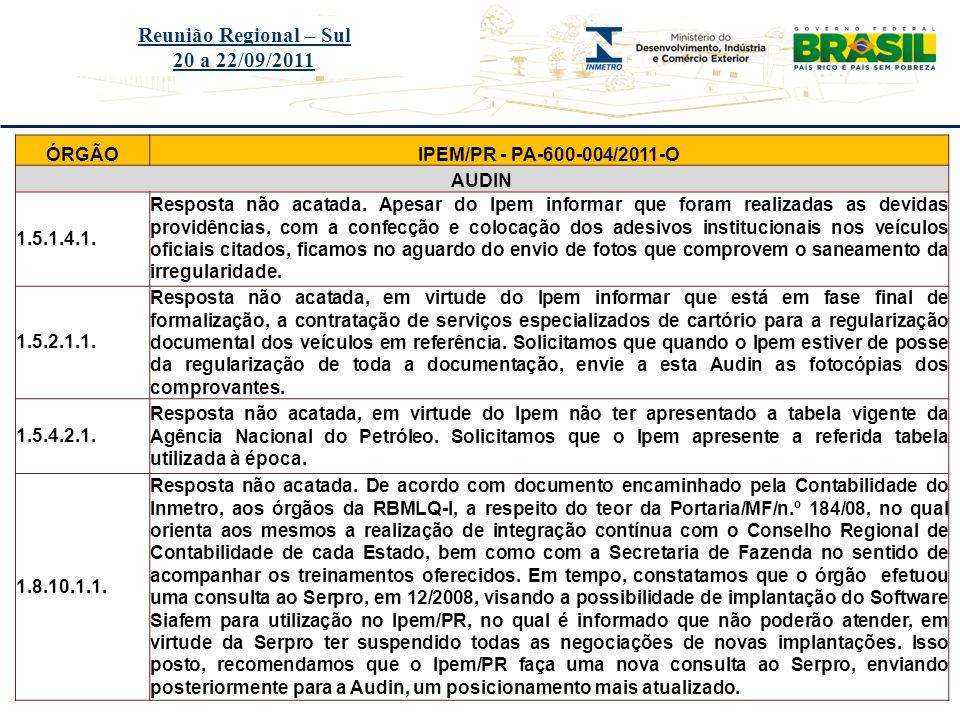 Reunião Regional – Sul 20 a 22/09/2011