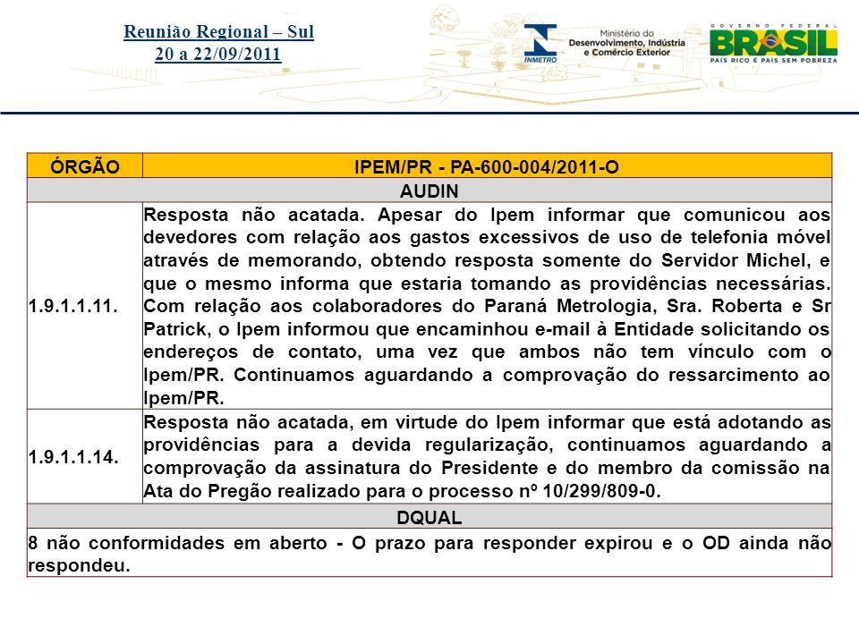 Reunião Regional – Sul 20 a 22/09/2011. ÓRGÃO. IPEM/PR - PA-600-004/2011-O. AUDIN. 1.9.1.1.11.