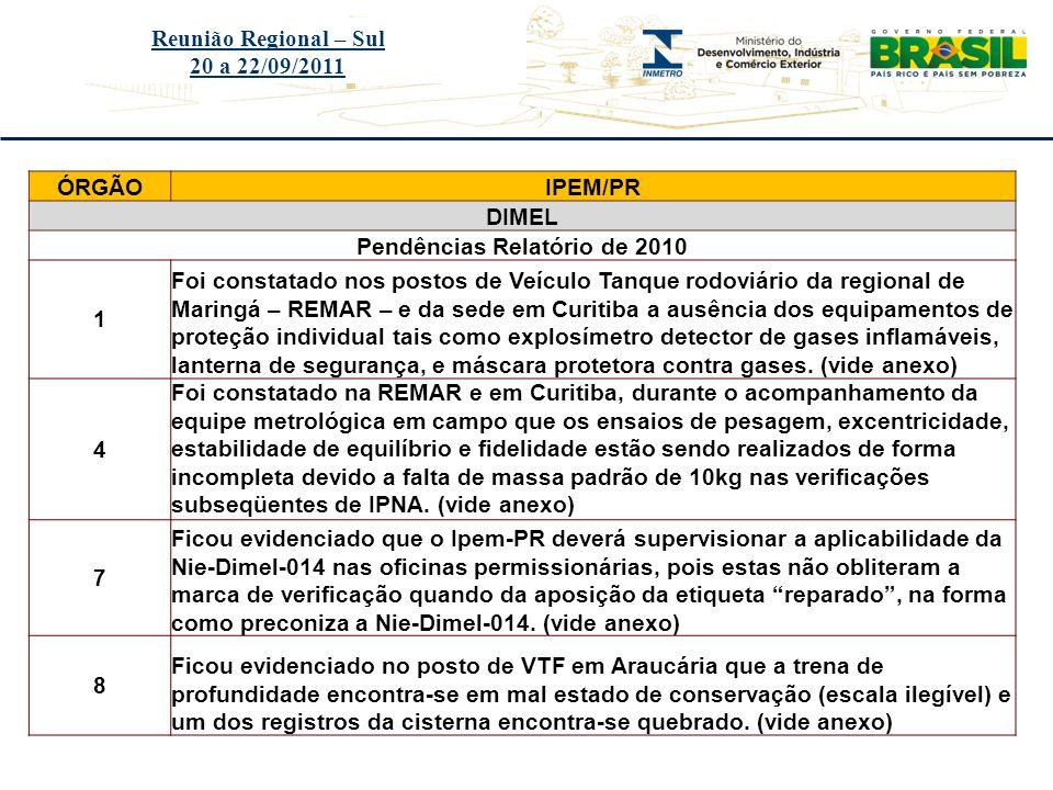 Pendências Relatório de 2010