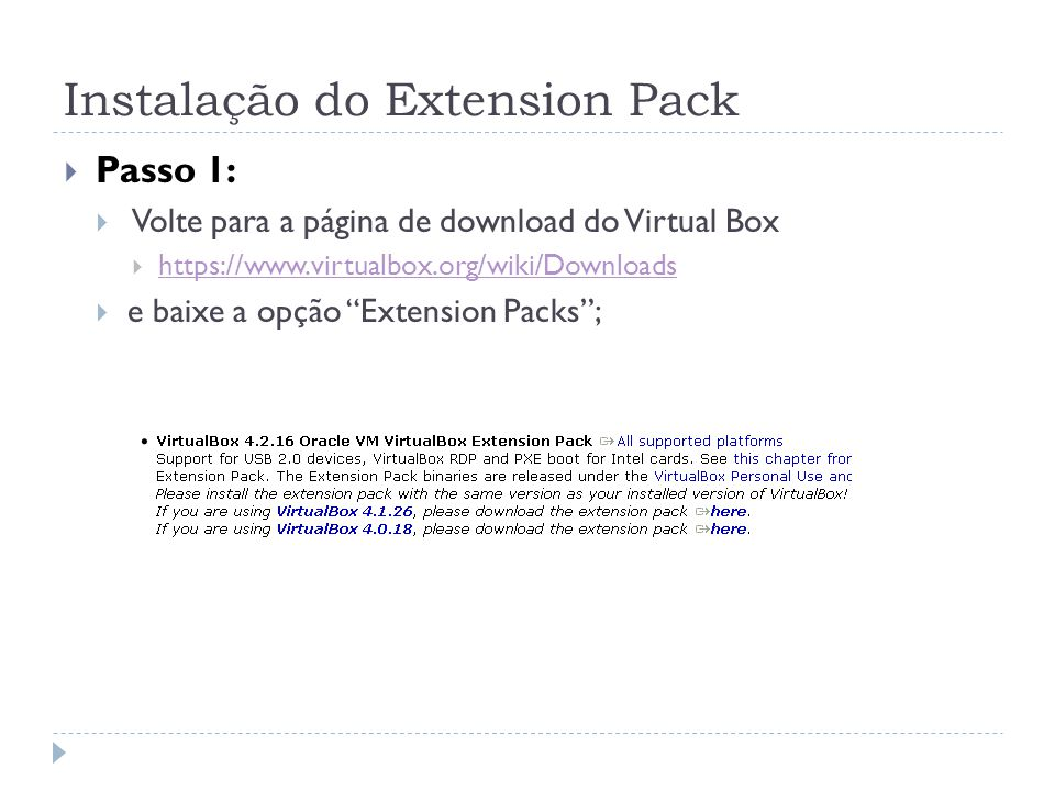 Instalação do Extension Pack