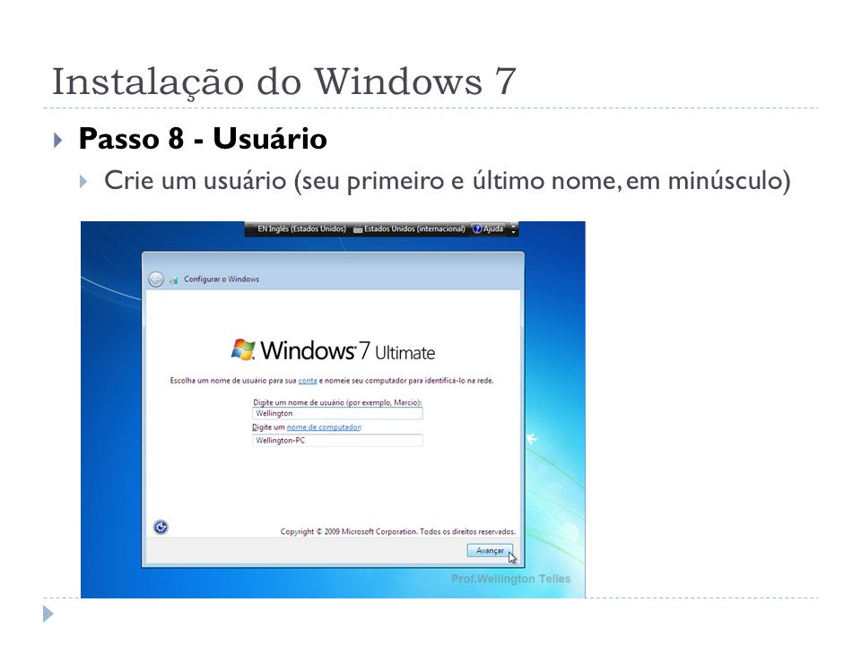 Instalação do Windows 7 Passo 8 - Usuário