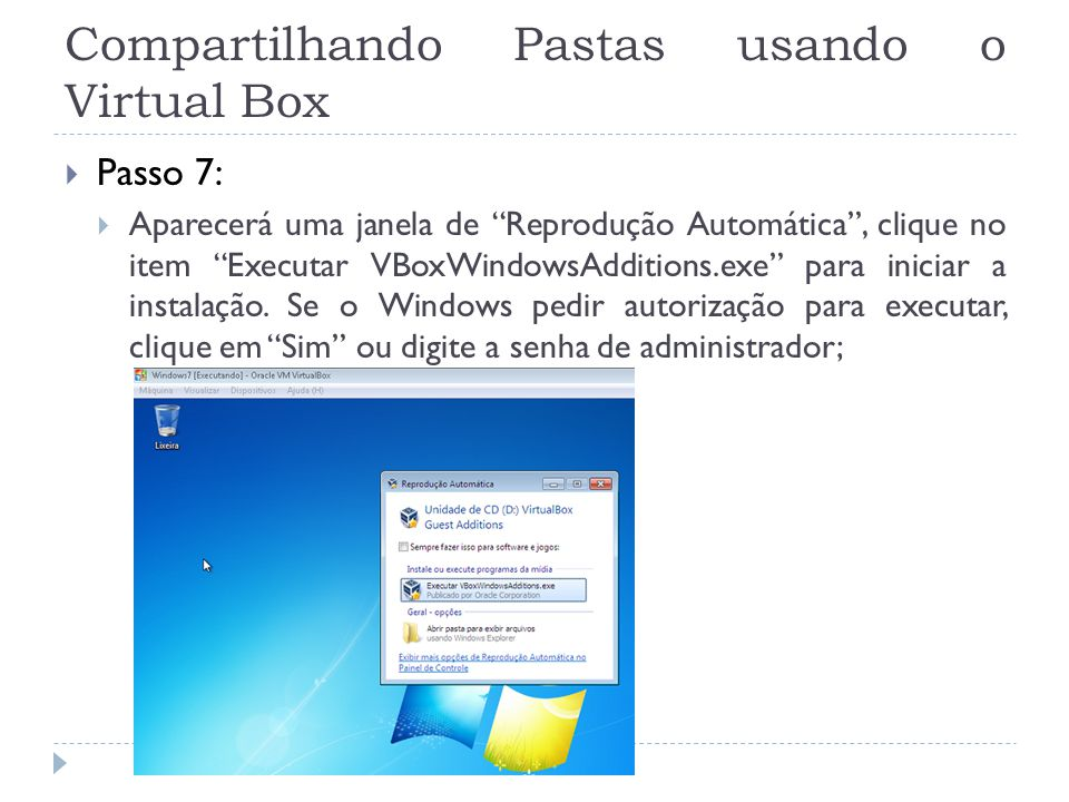 Compartilhando Pastas usando o Virtual Box