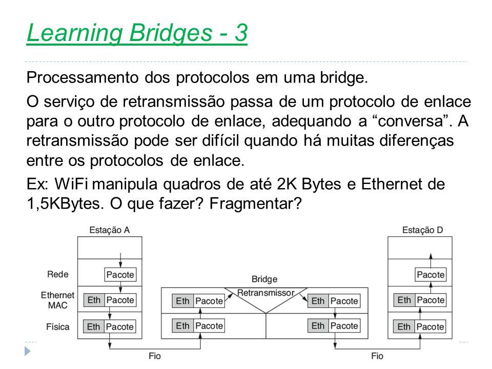 Learning Bridges - 3 Processamento dos protocolos em uma bridge.