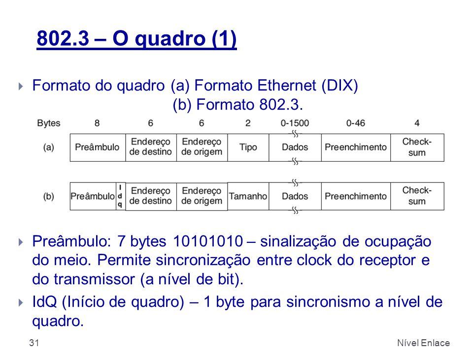 802.3 – O quadro (1) Formato do quadro (a) Formato Ethernet (DIX) (b) Formato 802.3. (as 2 maneiras podem ser usadas pois muito difundidas)