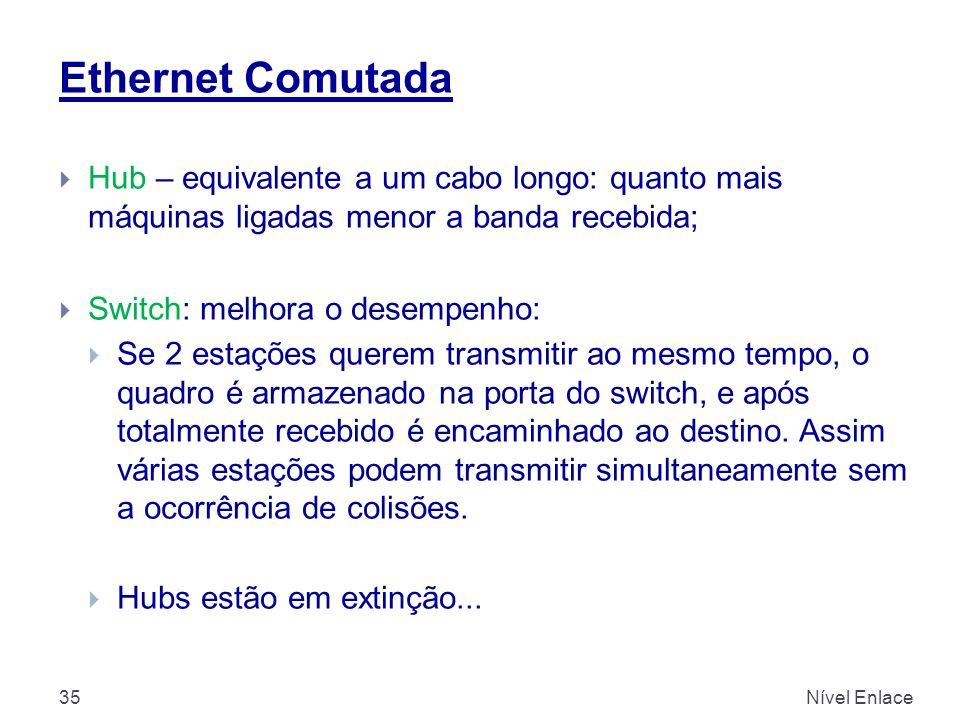 Ethernet Comutada Hub – equivalente a um cabo longo: quanto mais máquinas ligadas menor a banda recebida;