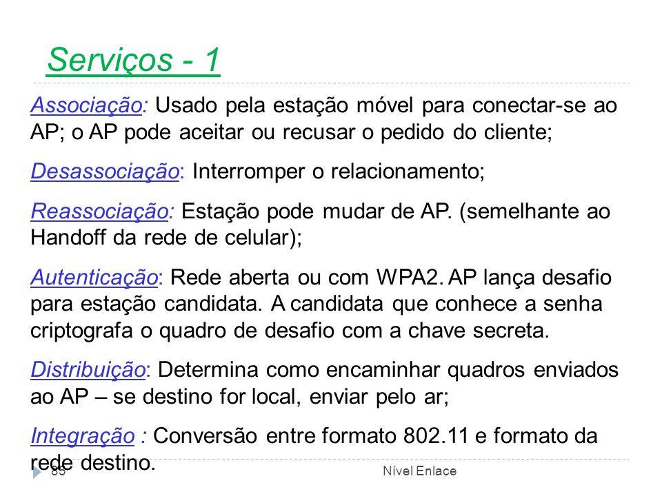 Serviços - 1 Associação: Usado pela estação móvel para conectar-se ao AP; o AP pode aceitar ou recusar o pedido do cliente;