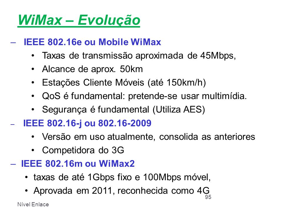 WiMax – Evolução IEEE 802.16e ou Mobile WiMax