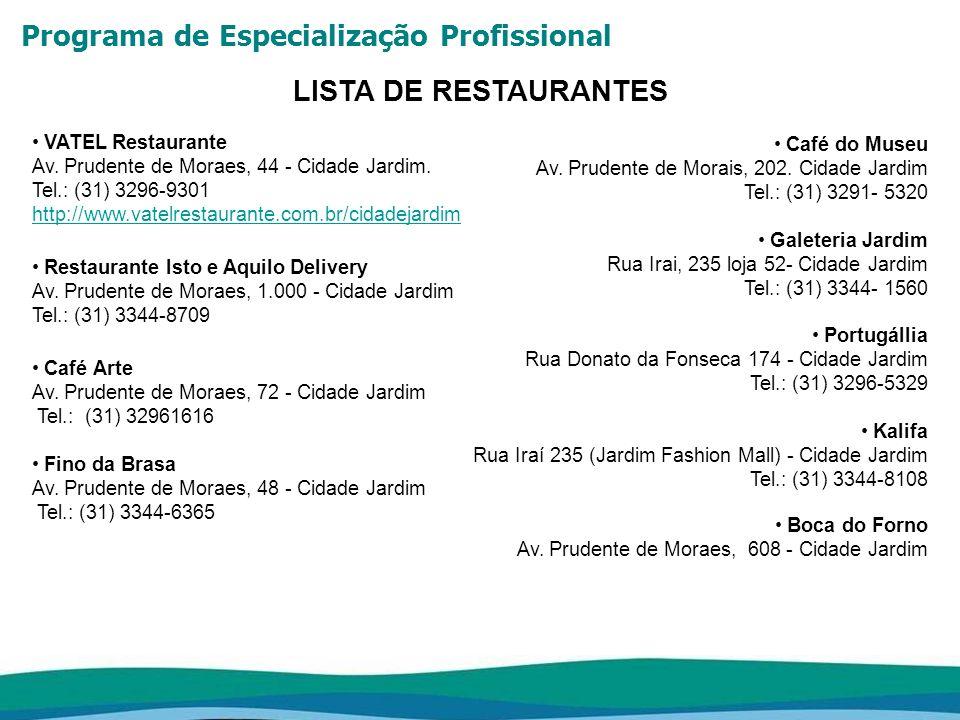 LISTA DE RESTAURANTES VATEL Restaurante