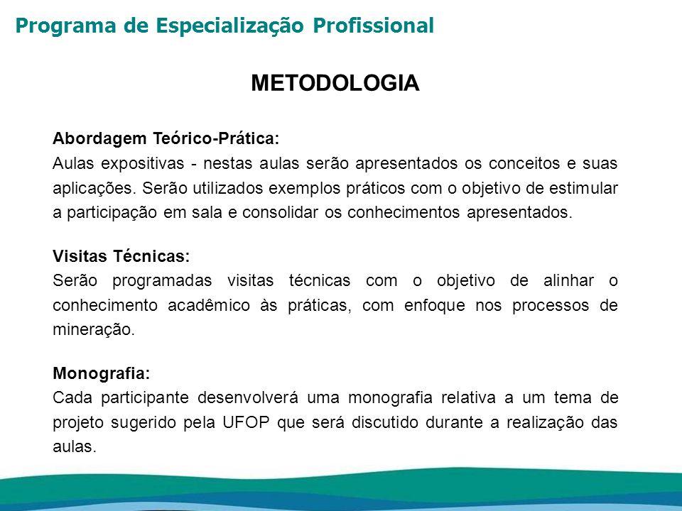 METODOLOGIA Abordagem Teórico-Prática:
