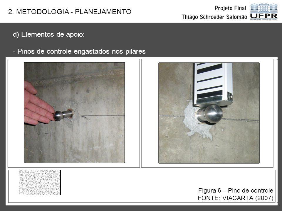 d) Elementos de apoio: - Pinos de controle engastados nos pilares