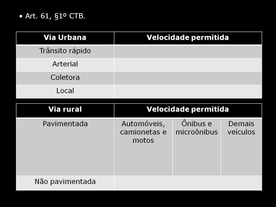 • Art. 61, §1º CTB.
