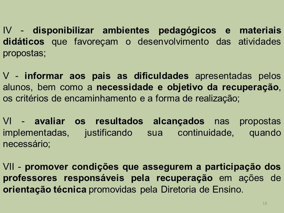 IV - disponibilizar ambientes pedagógicos e materiais didáticos que favoreçam o desenvolvimento das atividades propostas;