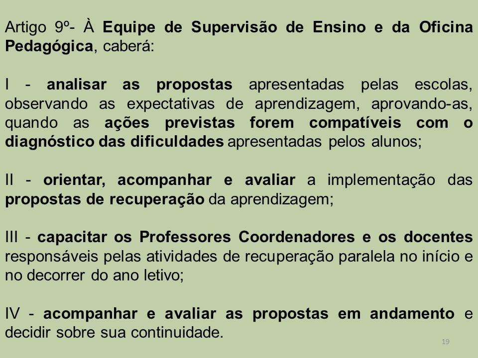 Artigo 9º- À Equipe de Supervisão de Ensino e da Oficina Pedagógica, caberá: