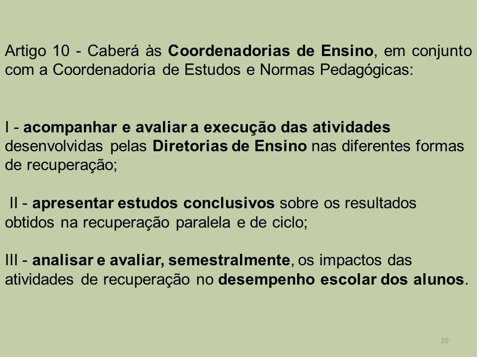 Artigo 10 - Caberá às Coordenadorias de Ensino, em conjunto com a Coordenadoria de Estudos e Normas Pedagógicas: