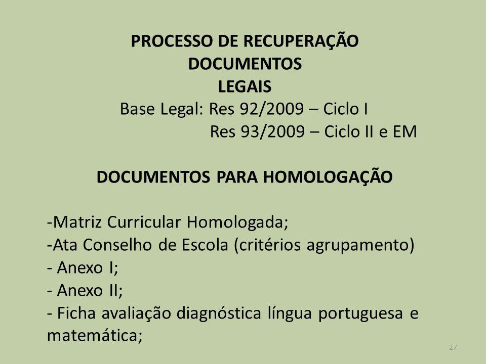 PROCESSO DE RECUPERAÇÃO DOCUMENTOS PARA HOMOLOGAÇÃO