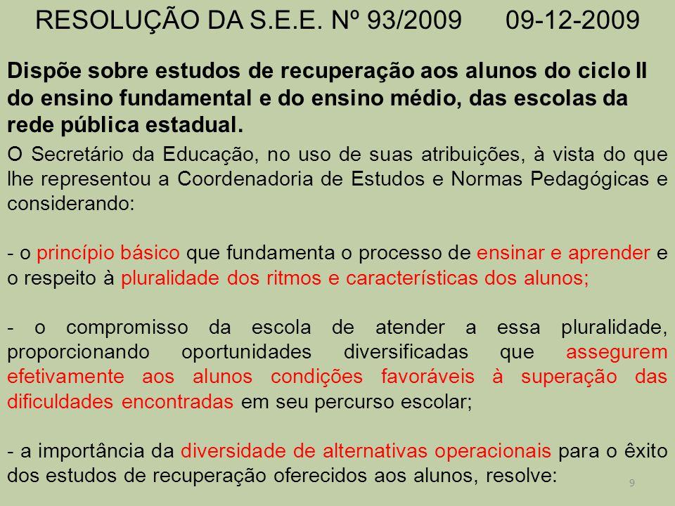 RESOLUÇÃO DA S.E.E. Nº 93/2009 09-12-2009