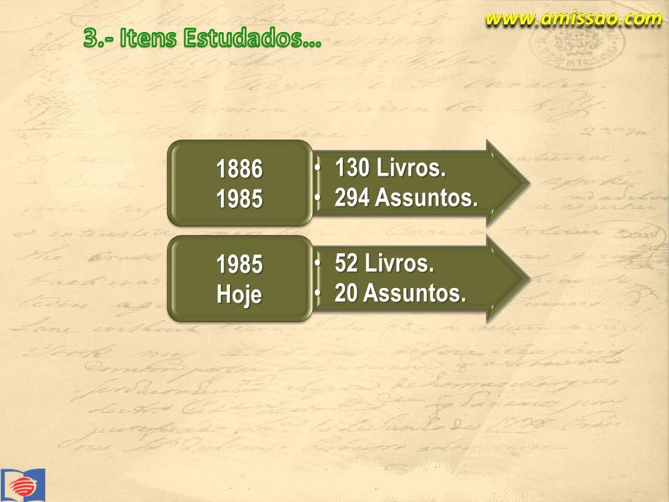 3.- Itens Estudados… 130 Livros. 294 Assuntos. 1886 1985 52 Livros.