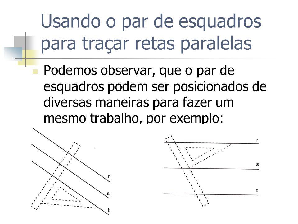 Usando o par de esquadros para traçar retas paralelas