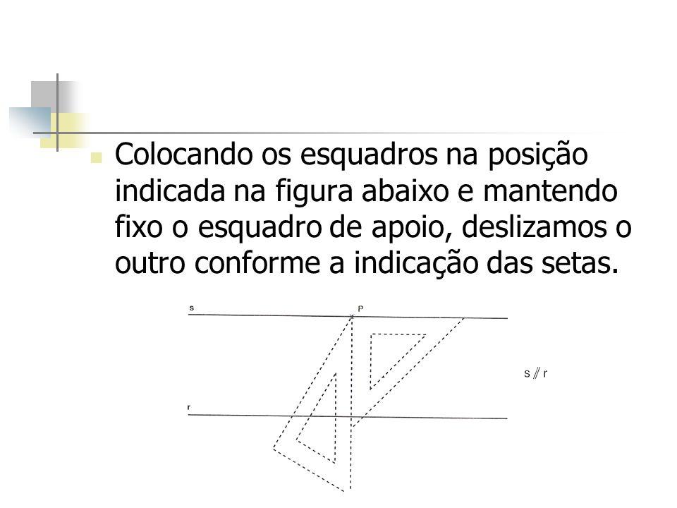 Colocando os esquadros na posição indicada na figura abaixo e mantendo fixo o esquadro de apoio, deslizamos o outro conforme a indicação das setas.