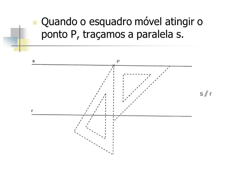 Quando o esquadro móvel atingir o ponto P, traçamos a paralela s.