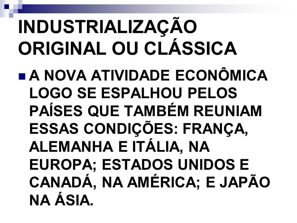 INDUSTRIALIZAÇÃO ORIGINAL OU CLÁSSICA