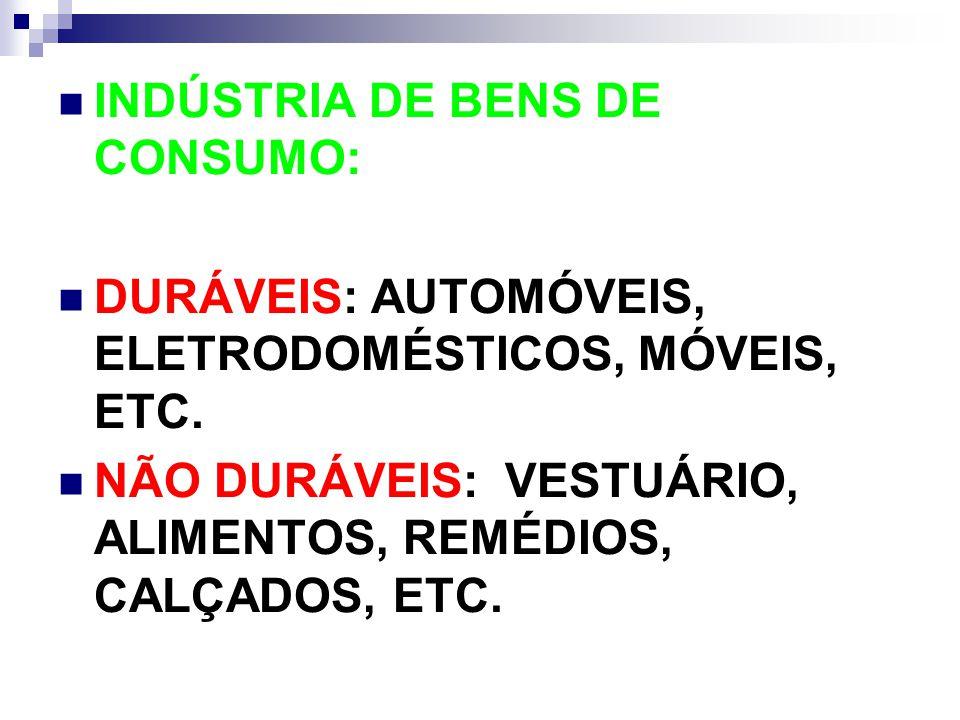 INDÚSTRIA DE BENS DE CONSUMO:
