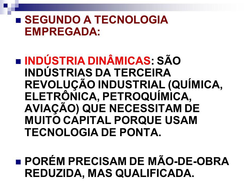 SEGUNDO A TECNOLOGIA EMPREGADA: