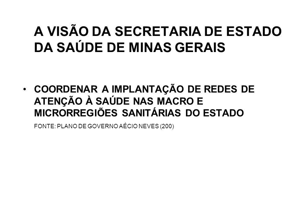 A VISÃO DA SECRETARIA DE ESTADO DA SAÚDE DE MINAS GERAIS