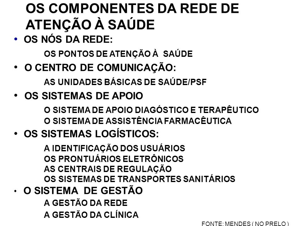 OS COMPONENTES DA REDE DE ATENÇÃO À SAÚDE