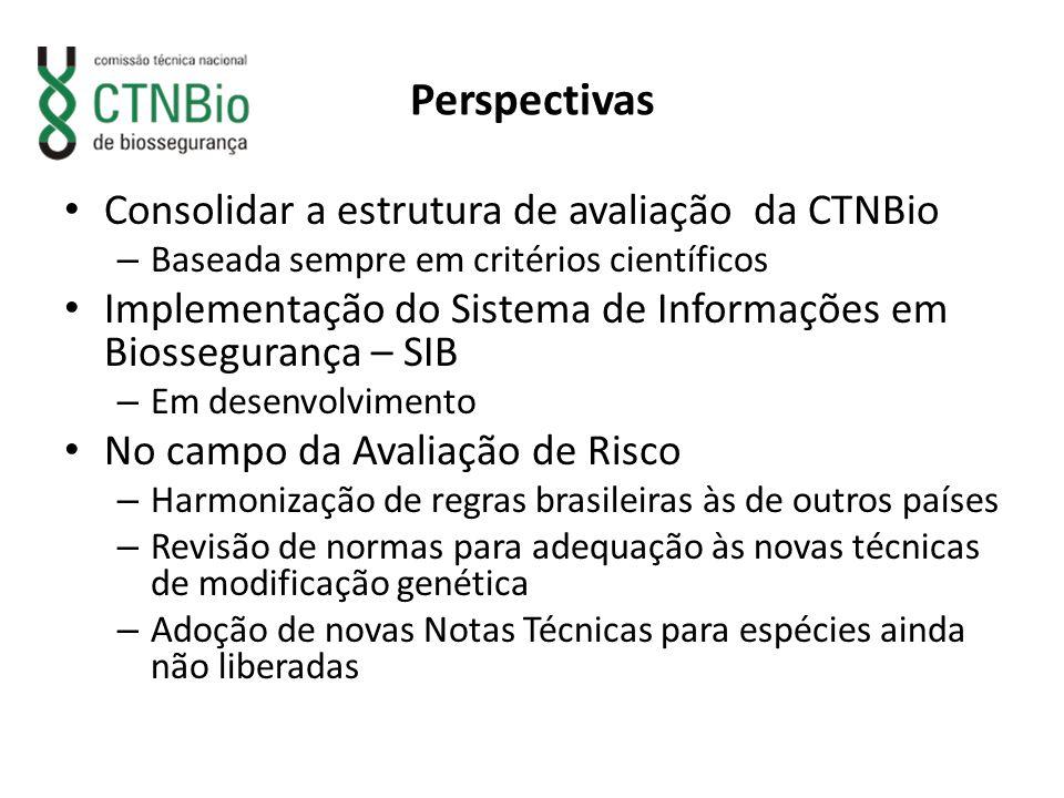 Perspectivas Consolidar a estrutura de avaliação da CTNBio