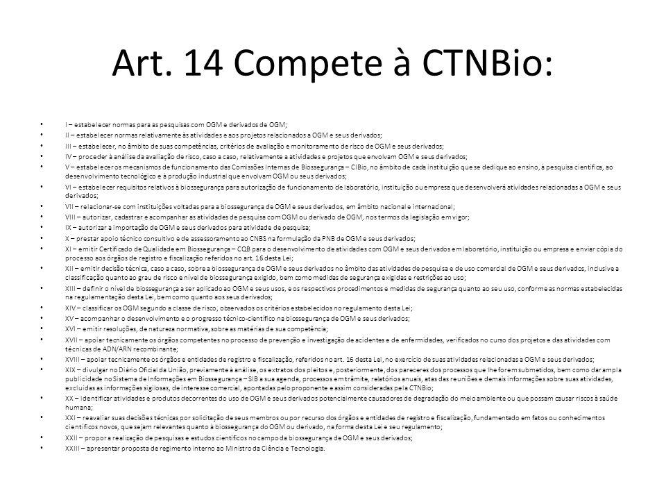 Art. 14 Compete à CTNBio: I – estabelecer normas para as pesquisas com OGM e derivados de OGM;