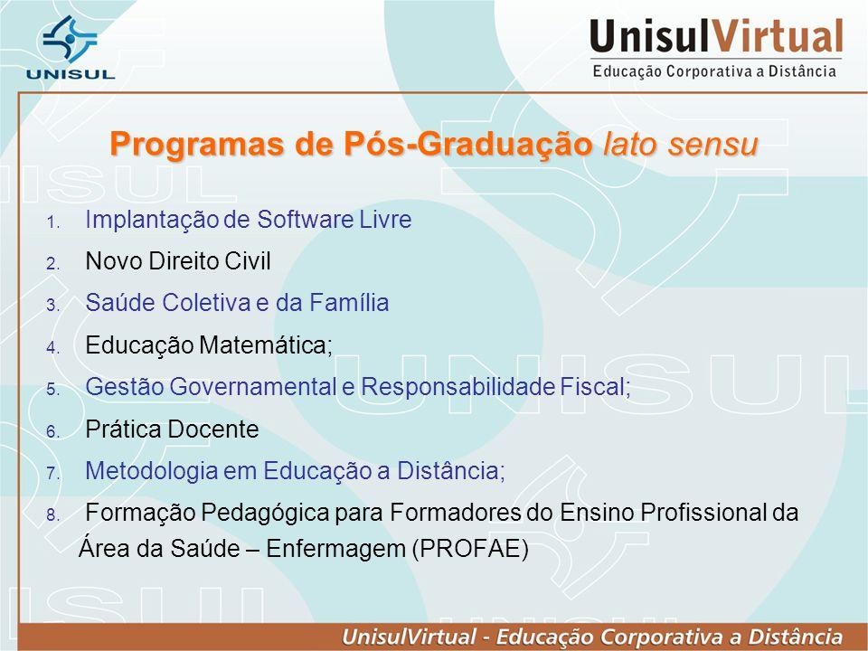 Programas de Pós-Graduação lato sensu