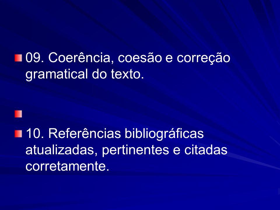 09. Coerência, coesão e correção gramatical do texto.