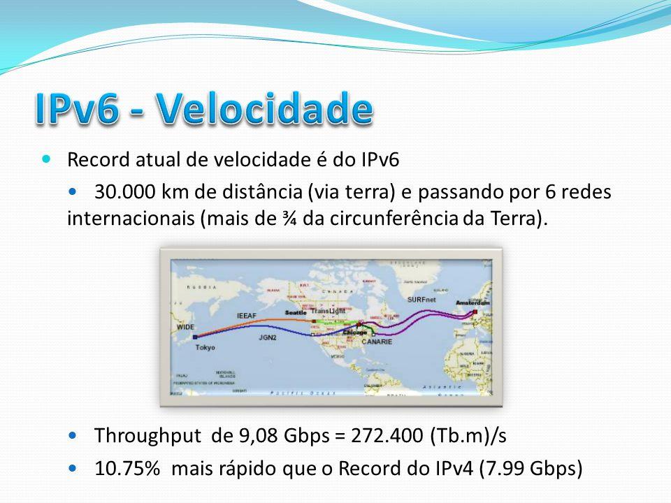 IPv6 - Velocidade Record atual de velocidade é do IPv6