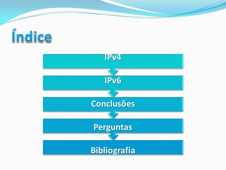 Índice IPv4 IPv6 Conclusões Perguntas Bibliografia