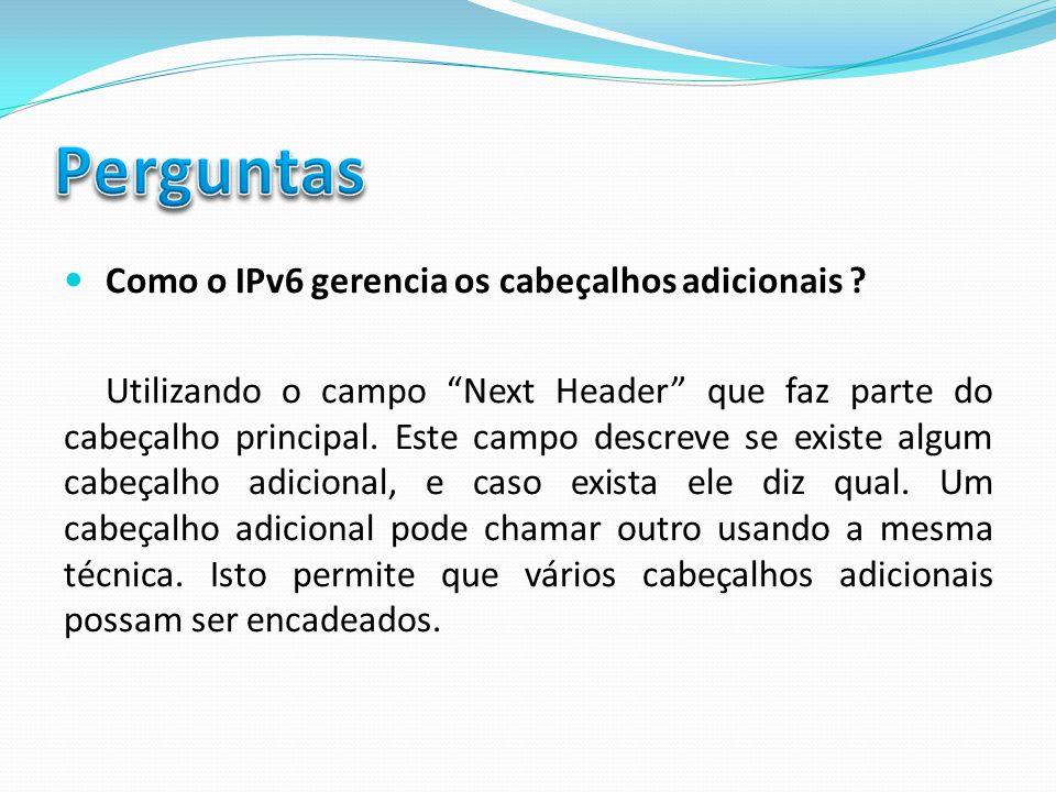 Perguntas Como o IPv6 gerencia os cabeçalhos adicionais
