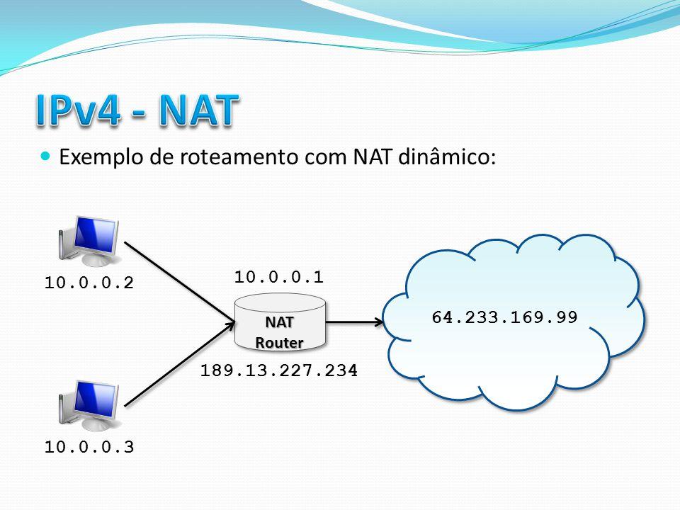 IPv4 - NAT Exemplo de roteamento com NAT dinâmico: 10.0.0.1 10.0.0.2