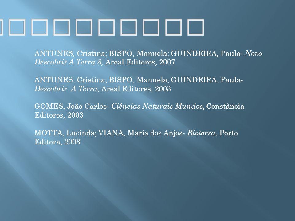 Bibliografia ANTUNES, Cristina; BISPO, Manuela; GUINDEIRA, Paula- Novo Descobrir A Terra 8, Areal Editores, 2007.
