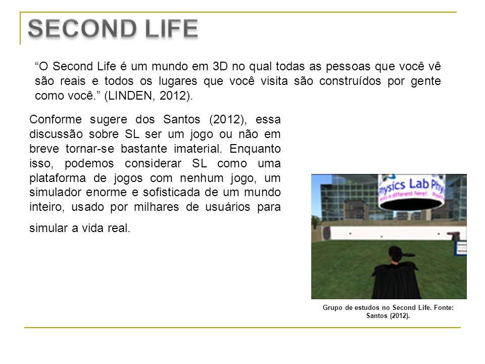 Grupo de estudos no Second Life. Fonte: Santos (2012).