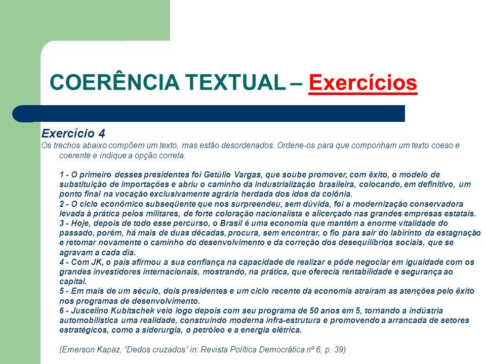 COERÊNCIA TEXTUAL – Exercícios