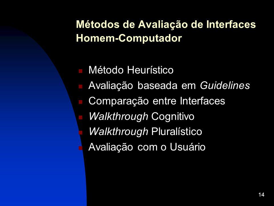 Métodos de Avaliação de Interfaces Homem-Computador