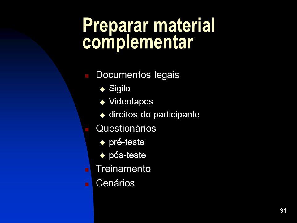 Preparar material complementar