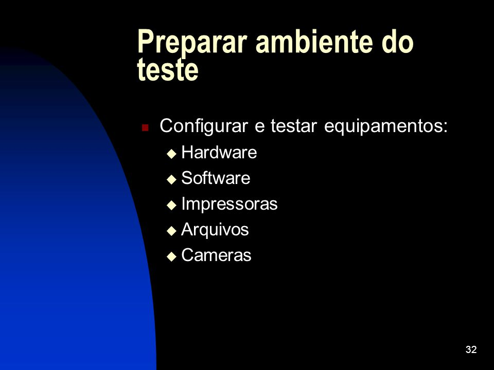 Preparar ambiente do teste