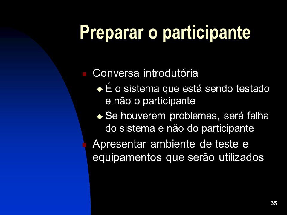 Preparar o participante