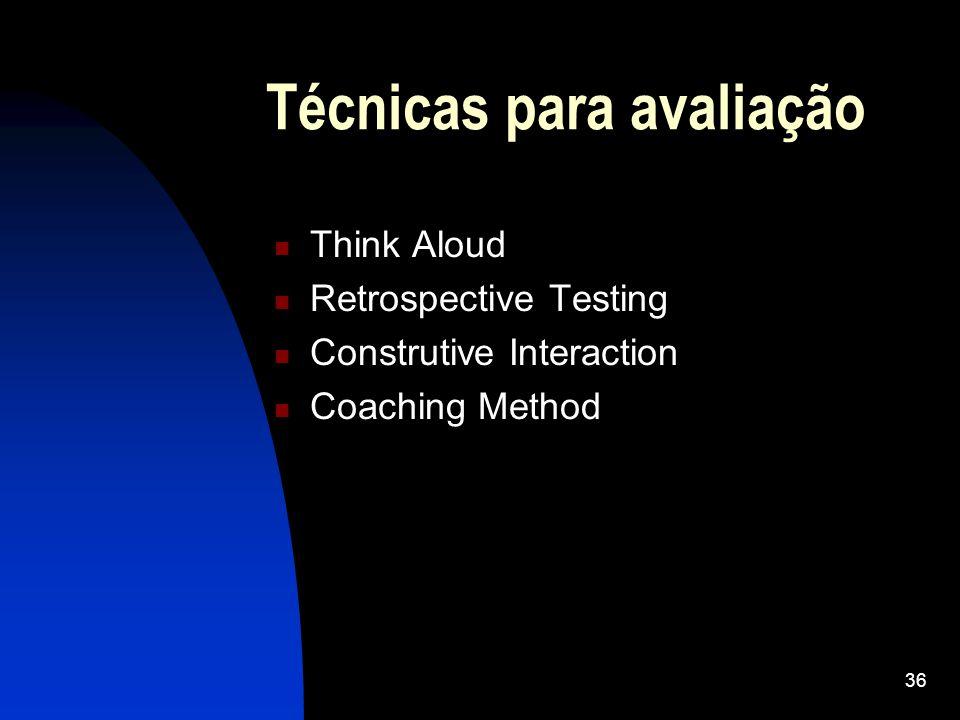 Técnicas para avaliação