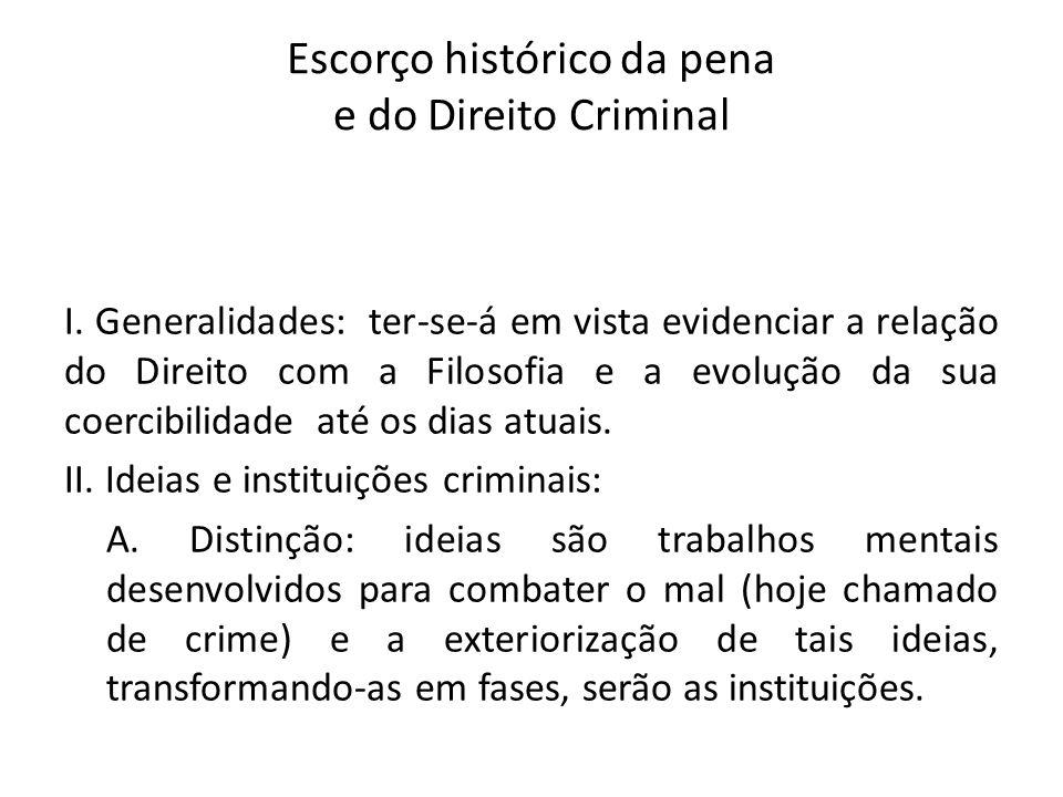 Escorço histórico da pena e do Direito Criminal