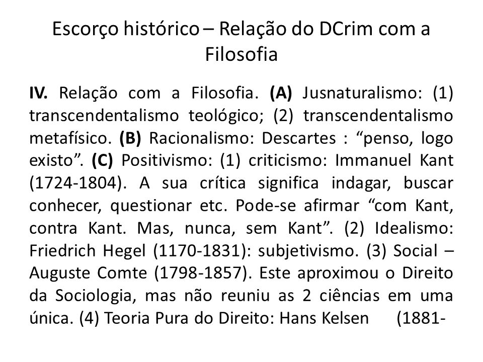 Escorço histórico – Relação do DCrim com a Filosofia